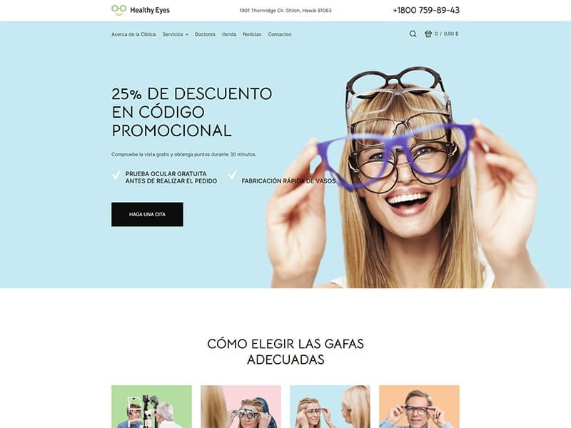 Tienda en línea de anteojos